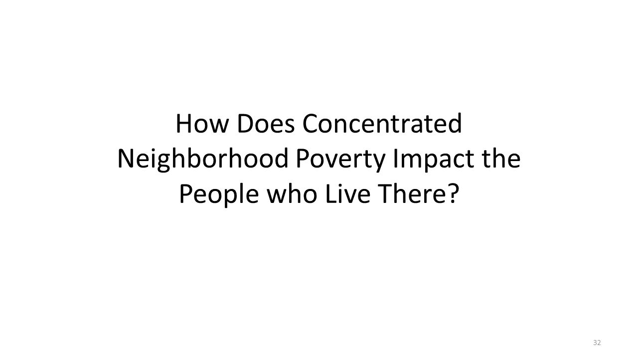 How Does Concentrated Neighborhood Poverty Impact the People who Live There