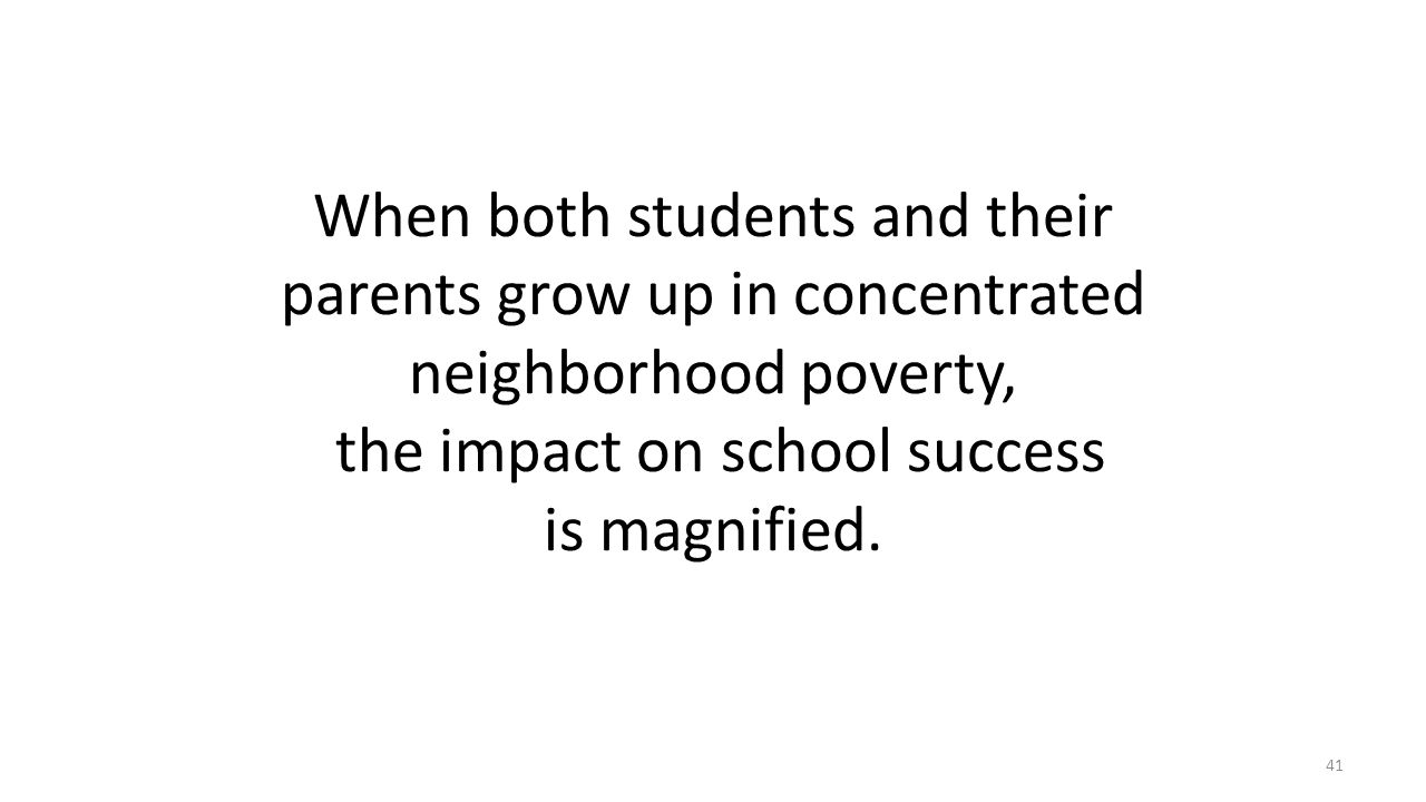 When both students and their parents grow up in concentrated neighborhood poverty, the impact on school success is magnified.
