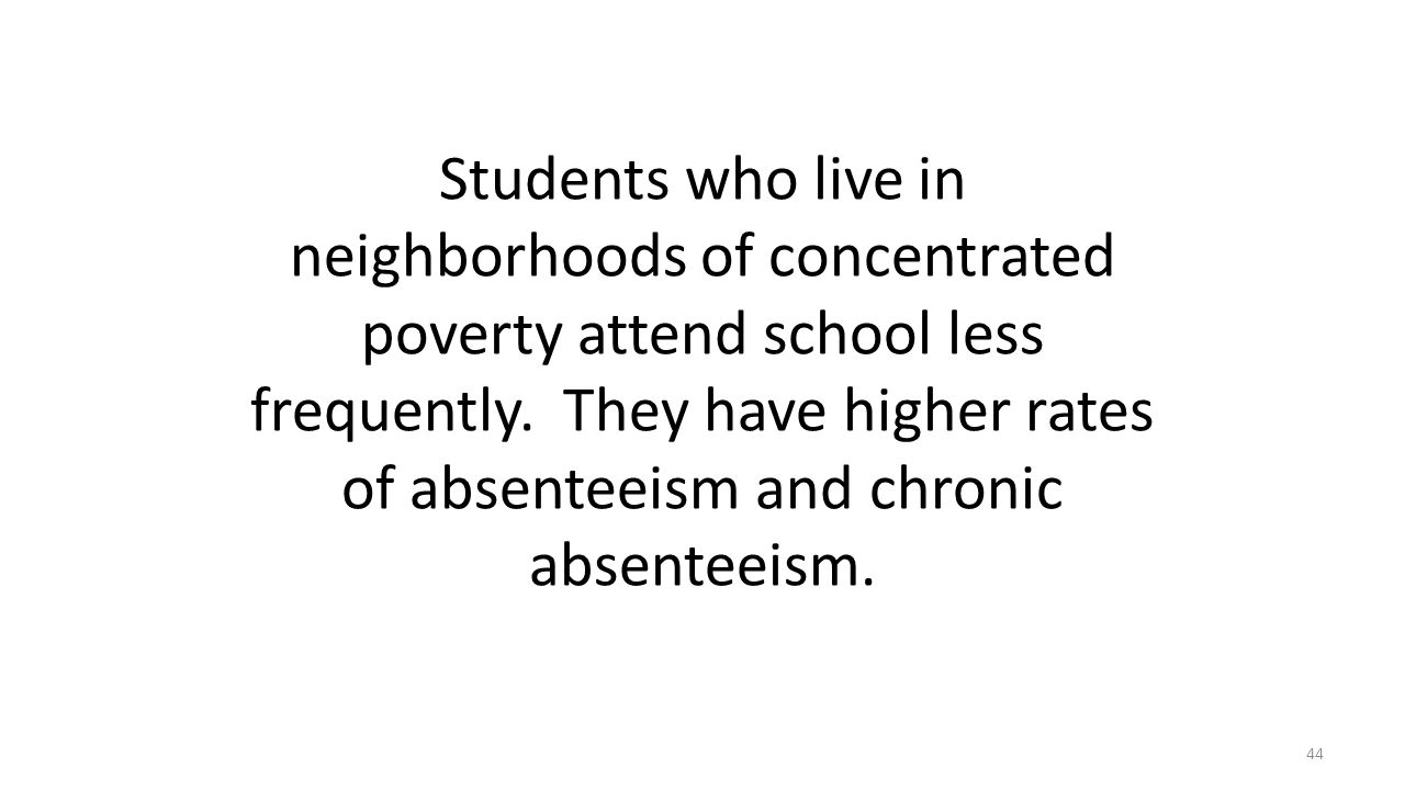 Students who live in neighborhoods of concentrated poverty attend school less frequently.