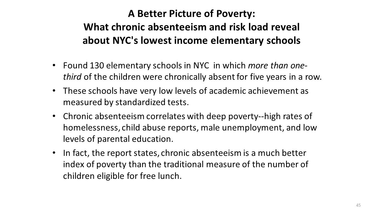 A Better Picture of Poverty: What chronic absenteeism and risk load reveal about NYC s lowest income elementary schools
