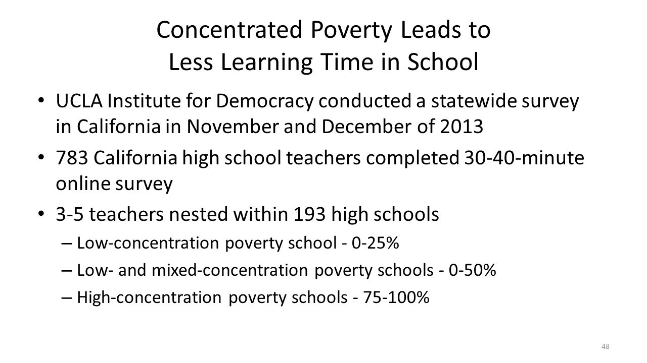 Concentrated Poverty Leads to Less Learning Time in School