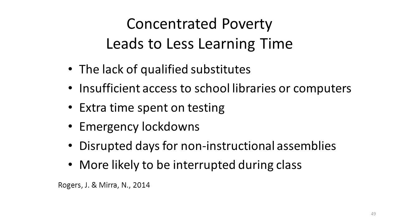 Concentrated Poverty Leads to Less Learning Time