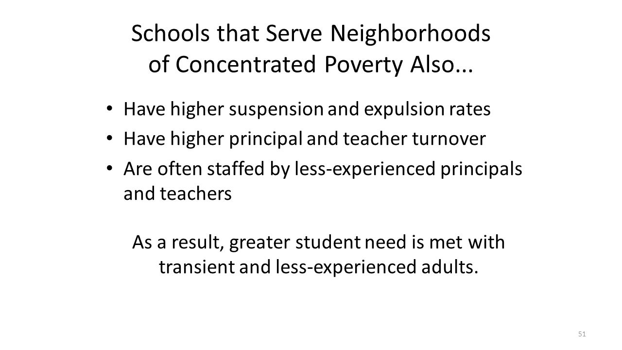Schools that Serve Neighborhoods of Concentrated Poverty Also...