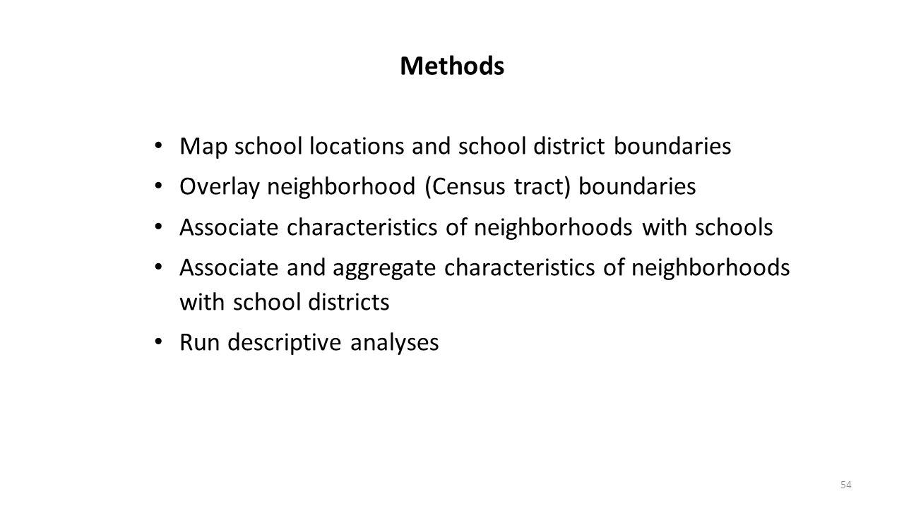 Methods Map school locations and school district boundaries