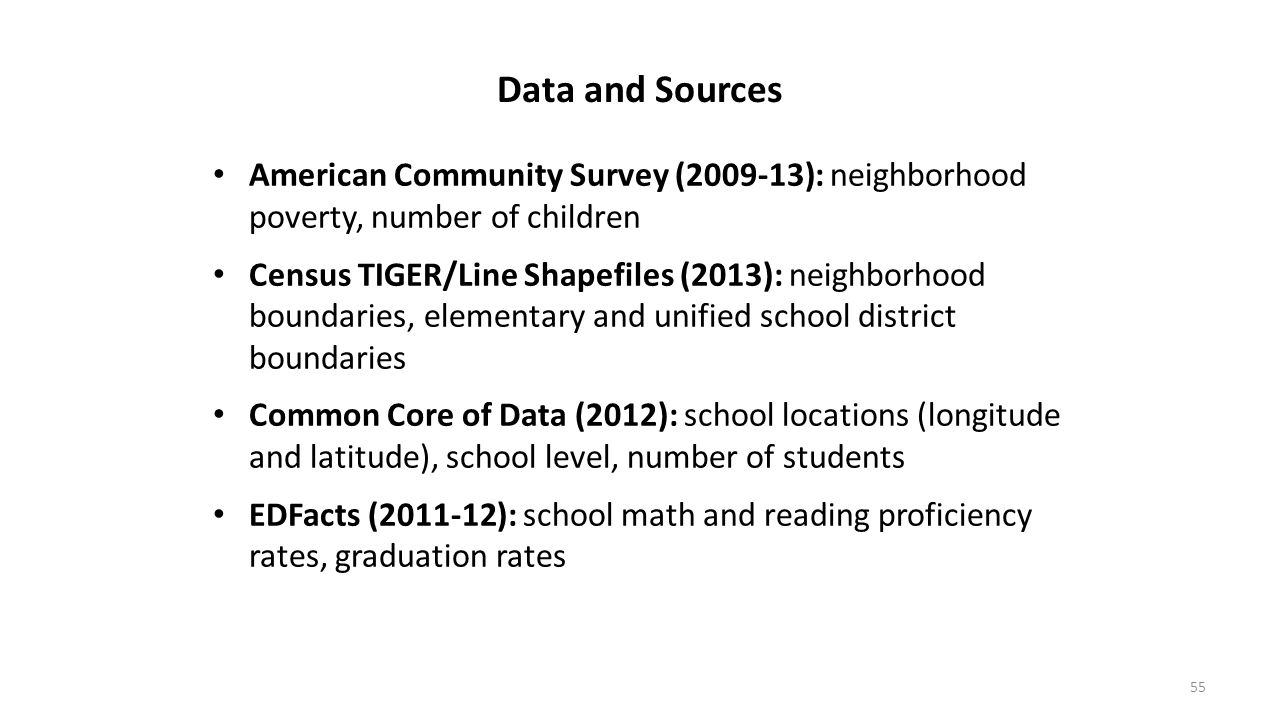 Data and Sources American Community Survey (2009-13): neighborhood poverty, number of children.