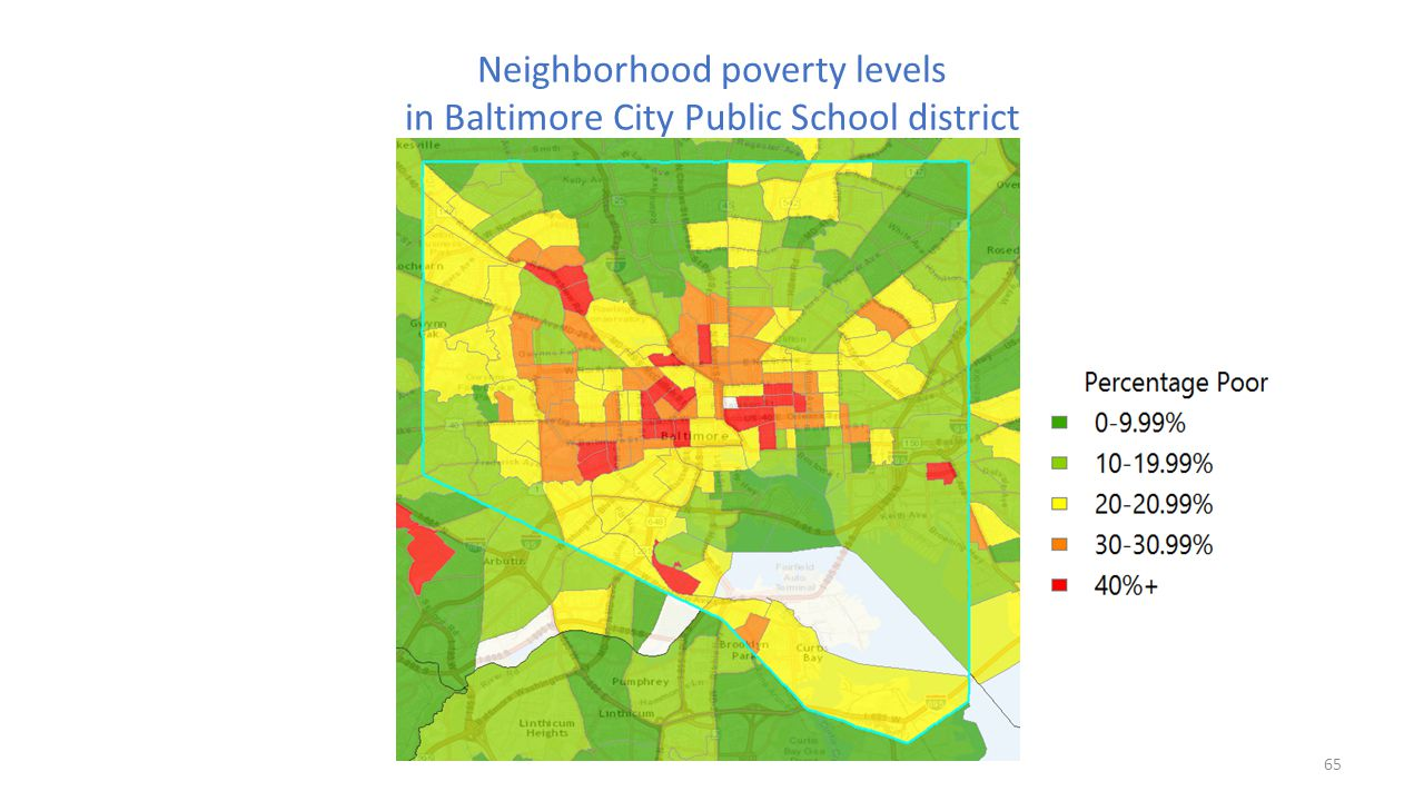 Neighborhood poverty levels in Baltimore City Public School district