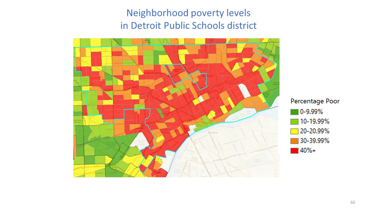 Neighborhood poverty levels in Detroit Public Schools district