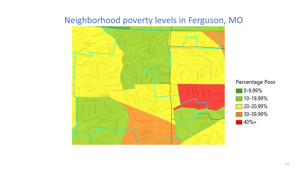 Neighborhood poverty levels in Ferguson, MO