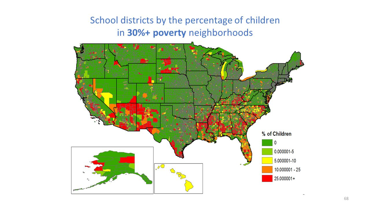 School districts by the percentage of children in 30%+ poverty neighborhoods