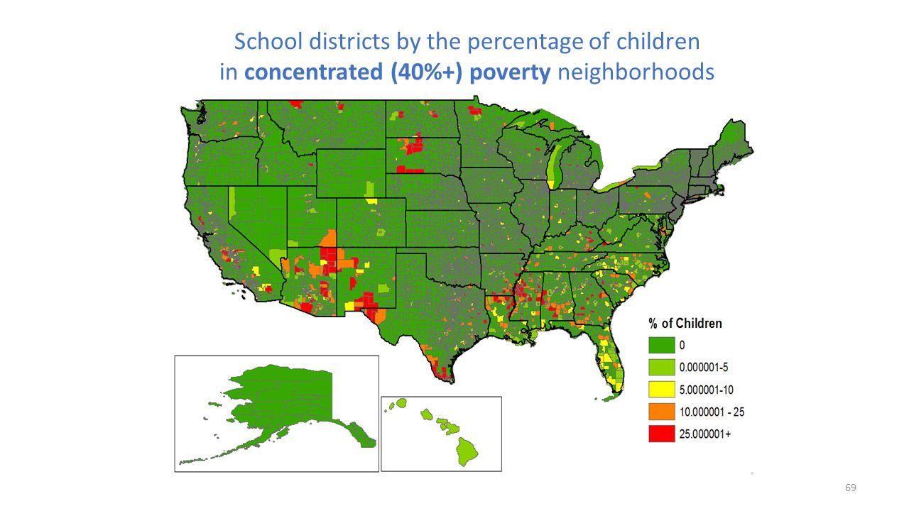 School districts by the percentage of children in concentrated (40%+) poverty neighborhoods