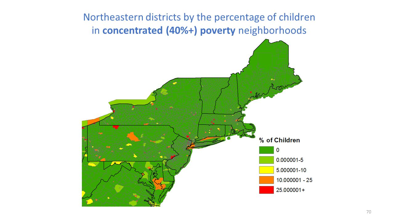 Northeastern districts by the percentage of children in concentrated (40%+) poverty neighborhoods
