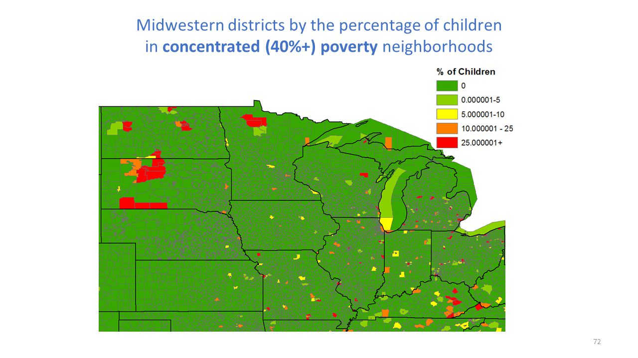 Midwestern districts by the percentage of children in concentrated (40%+) poverty neighborhoods