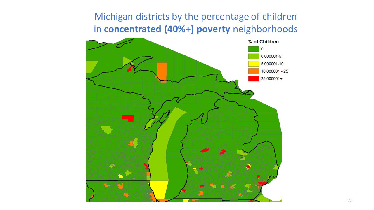 Michigan districts by the percentage of children in concentrated (40%+) poverty neighborhoods