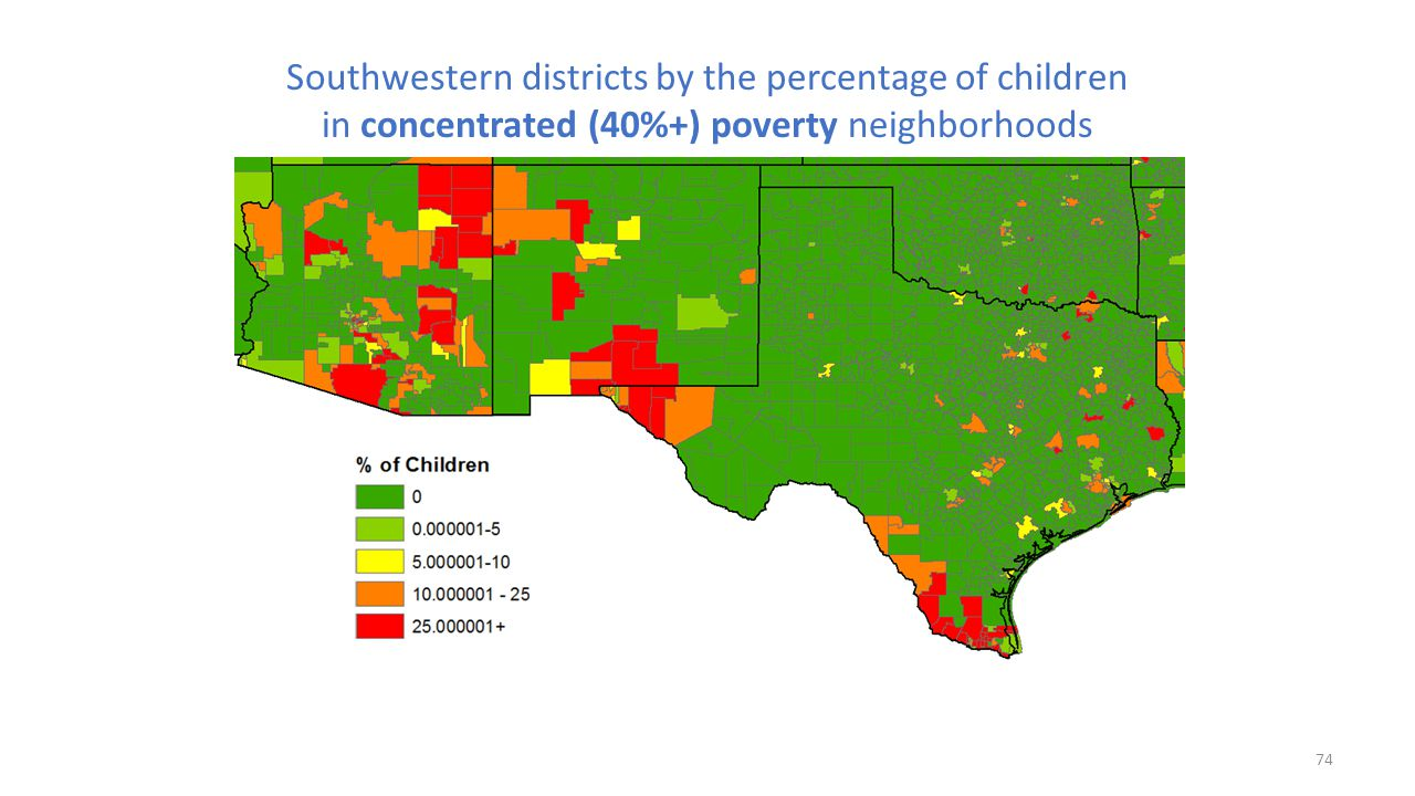 Southwestern districts by the percentage of children in concentrated (40%+) poverty neighborhoods