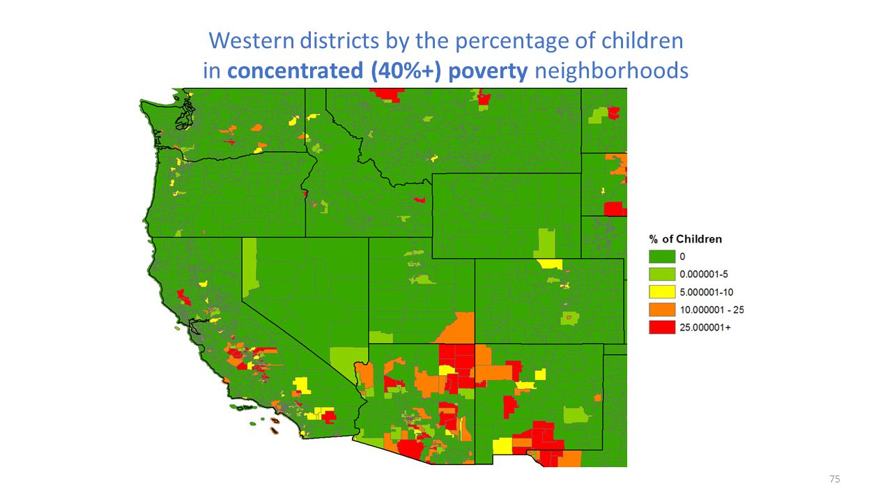 Western districts by the percentage of children in concentrated (40%+) poverty neighborhoods