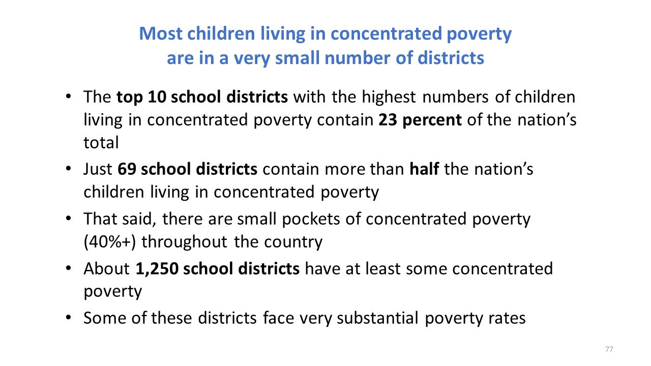 Most children living in concentrated poverty are in a very small number of districts