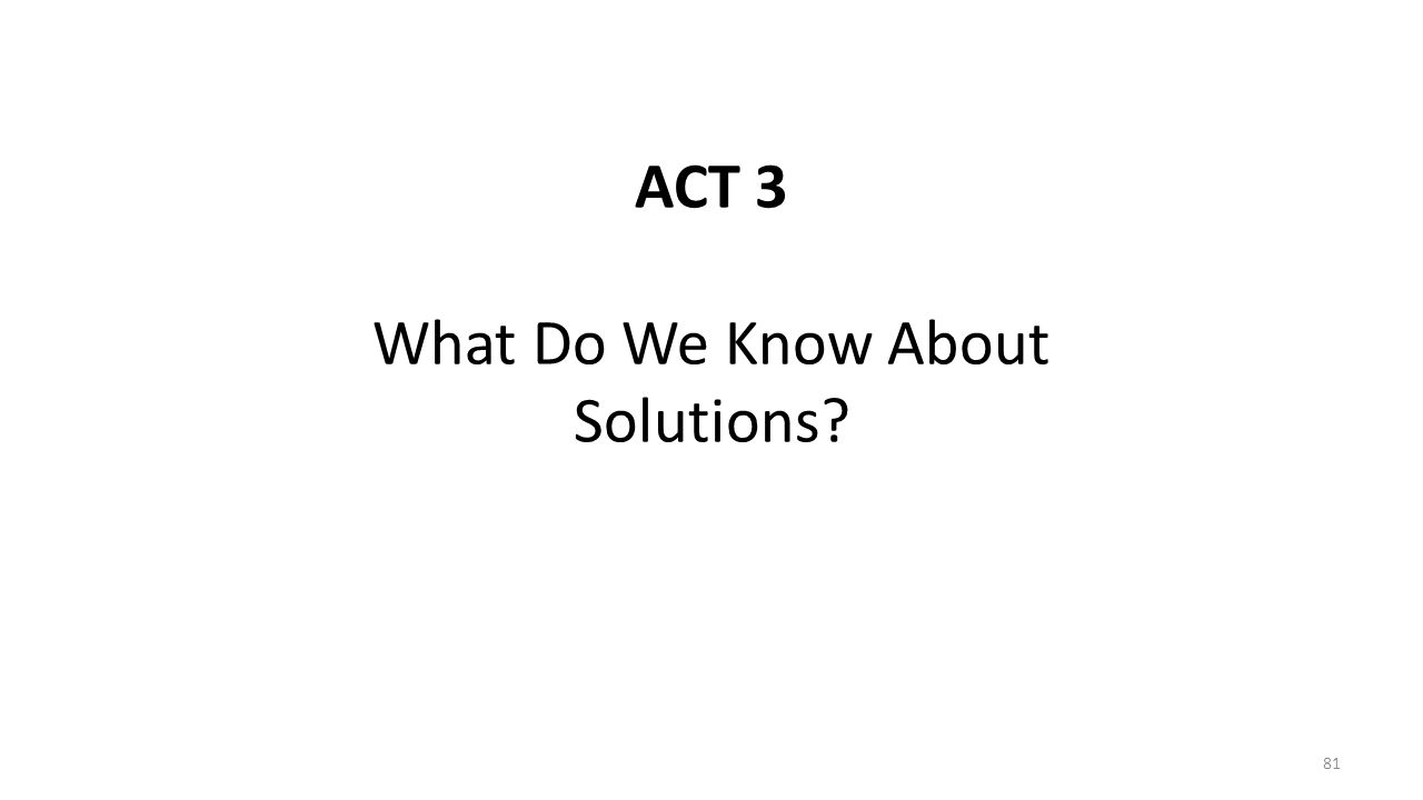 ACT 3 What Do We Know About Solutions