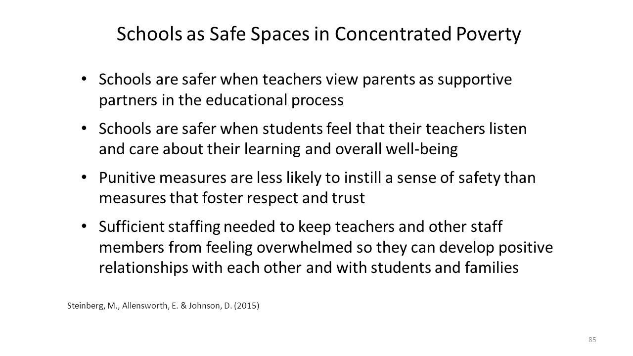 Schools as Safe Spaces in Concentrated Poverty