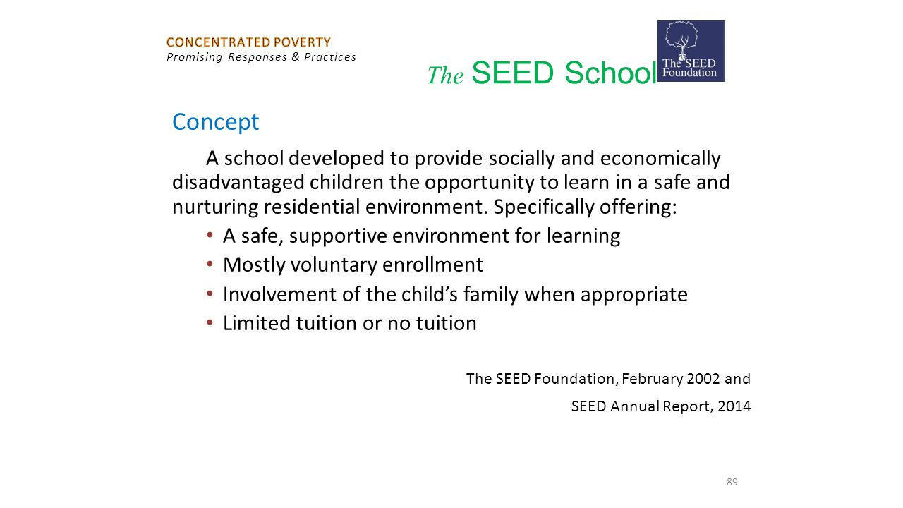Concept The SEED School A safe, supportive environment for learning