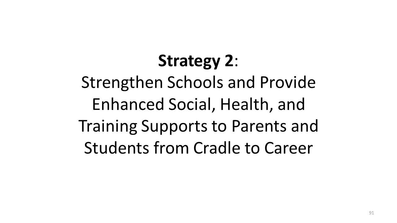 Strategy 2: Strengthen Schools and Provide Enhanced Social, Health, and Training Supports to Parents and Students from Cradle to Career