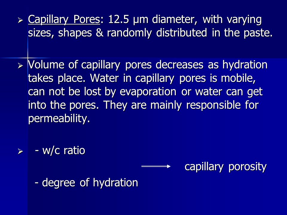 Capillary Pores: 12.5 μm diameter, with varying sizes, shapes & randomly distributed in the paste.