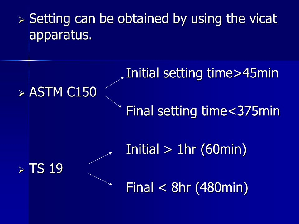 Setting can be obtained by using the vicat apparatus.
