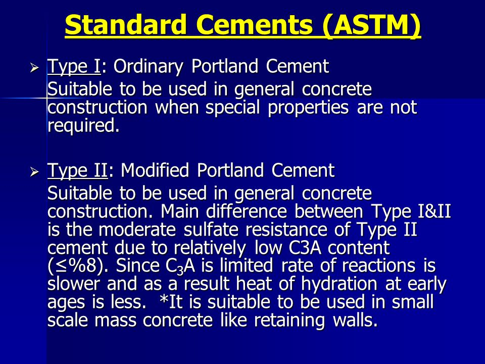 Standard Cements (ASTM)
