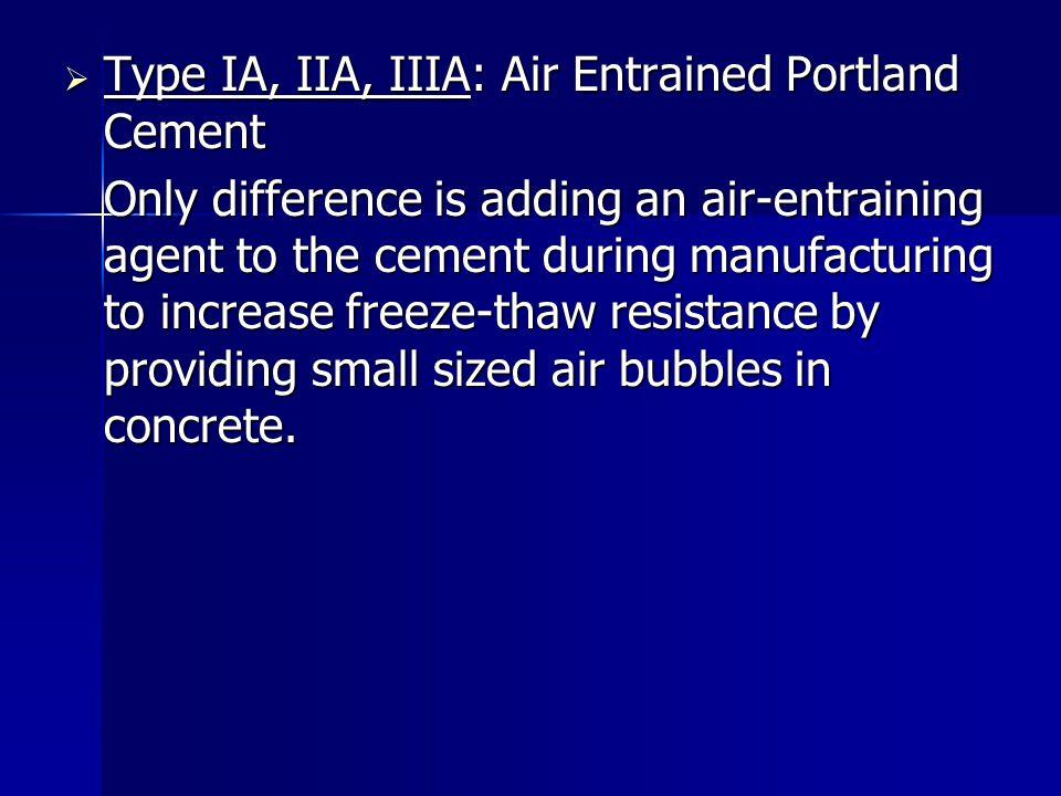 Type IA, IIA, IIIA: Air Entrained Portland Cement