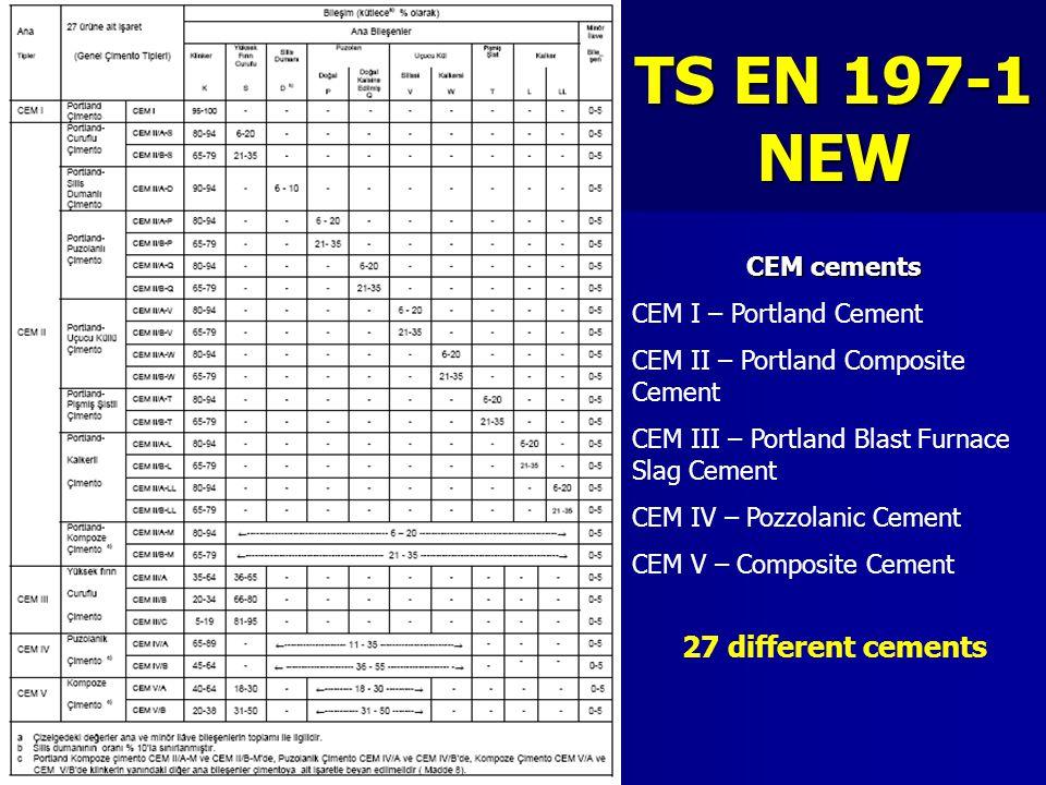 TS EN 197-1 NEW 27 different cements CEM cements