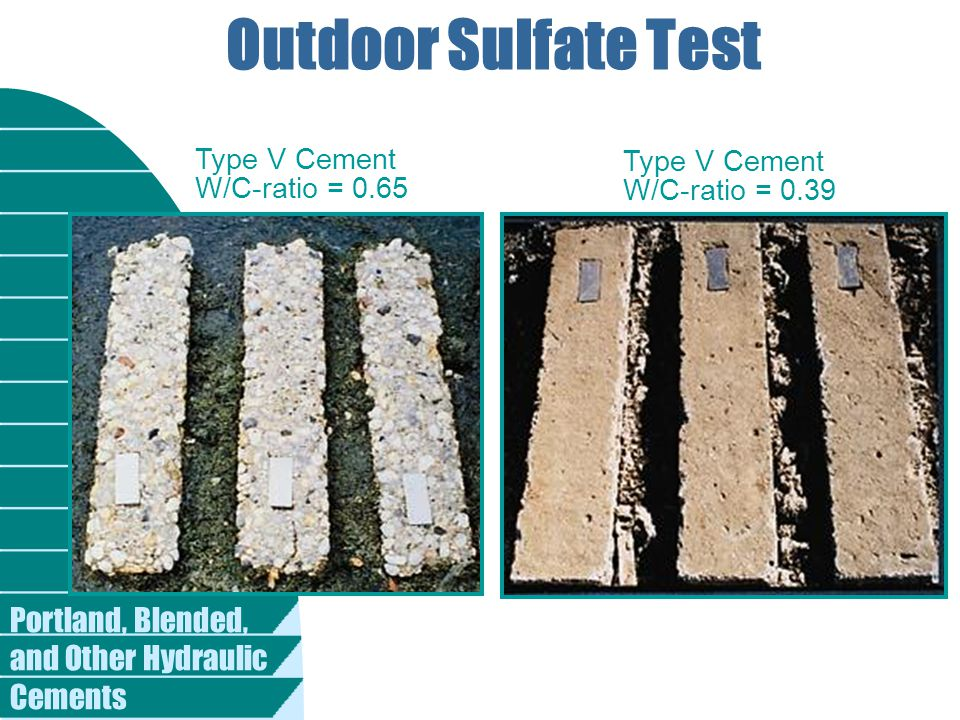 Outdoor Sulfate Test Type V Cement Type V Cement W/C-ratio = 0.65