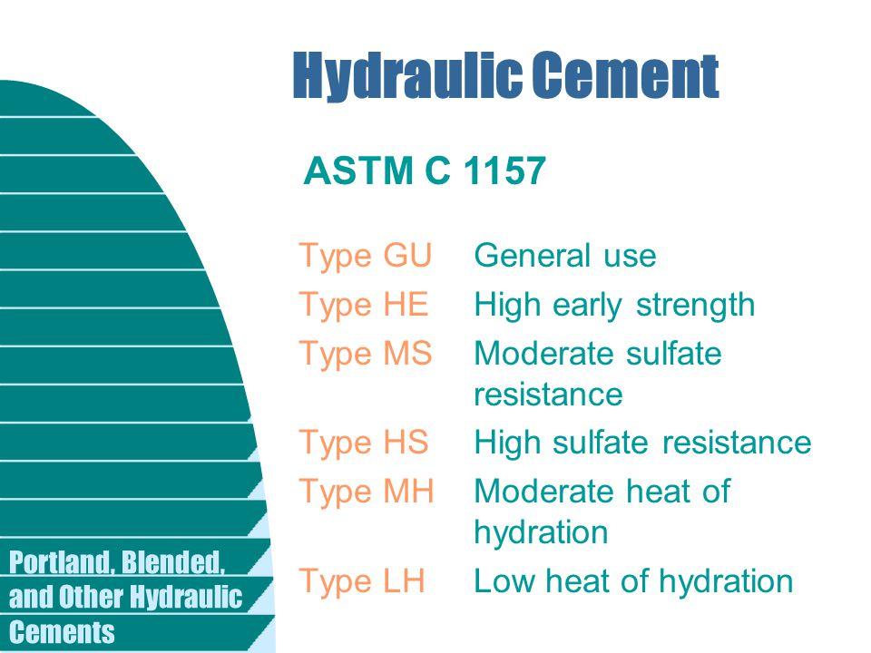 Hydraulic Cement ASTM C 1157 Type GU General use