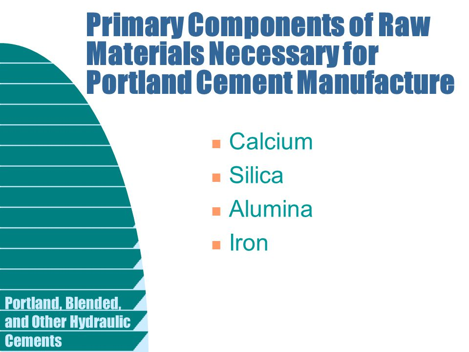 Primary Components of Raw Materials Necessary for Portland Cement Manufacture