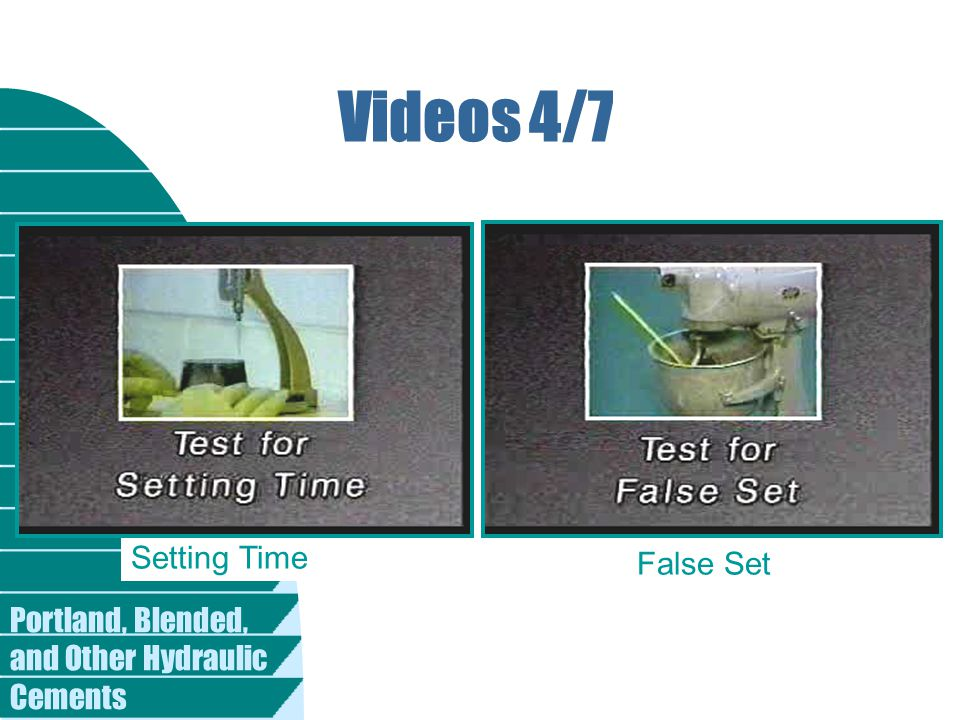 Videos 4/7 Setting Time False Set