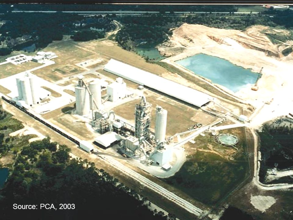 Source: PCA, 2003 Fig. 2-5. Aerial view of a cement plant. (70000)