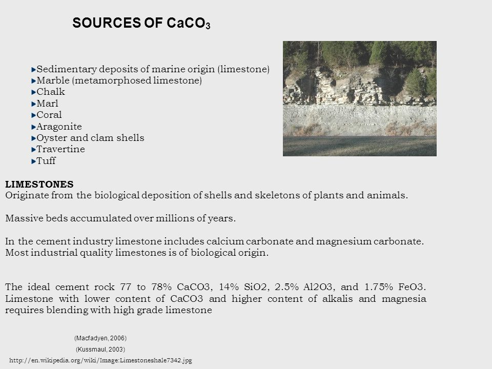 SOURCES OF CaCO3 Sedimentary deposits of marine origin (limestone)