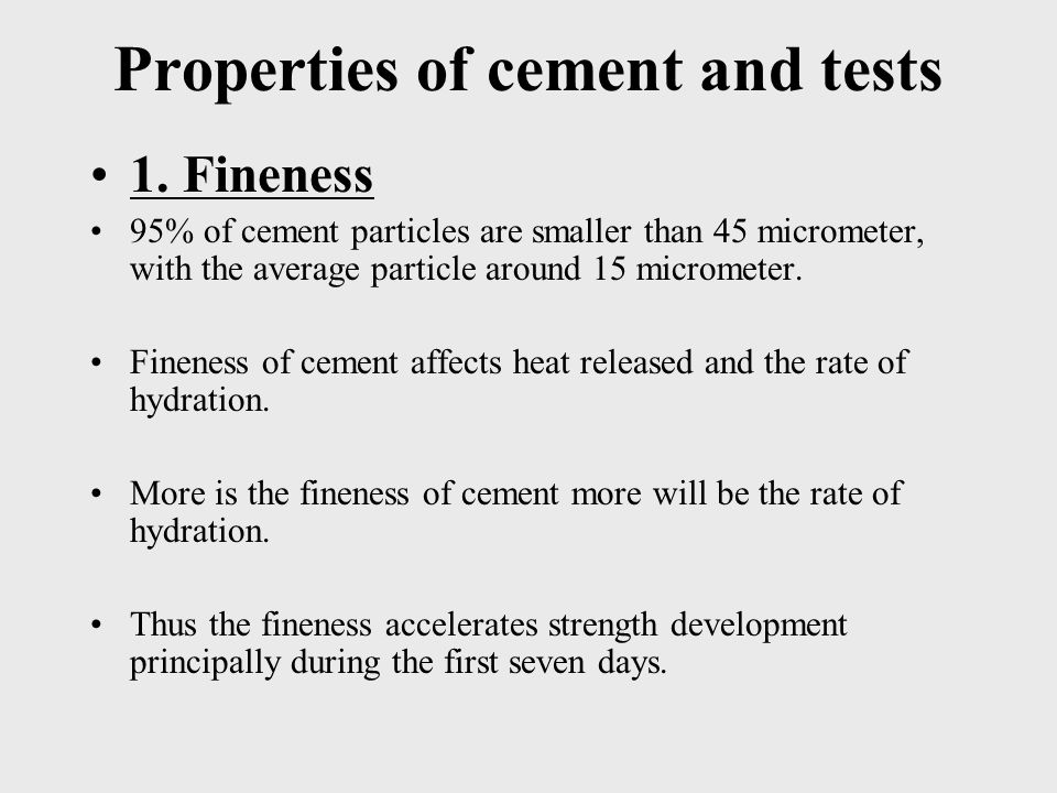 Properties of cement and tests