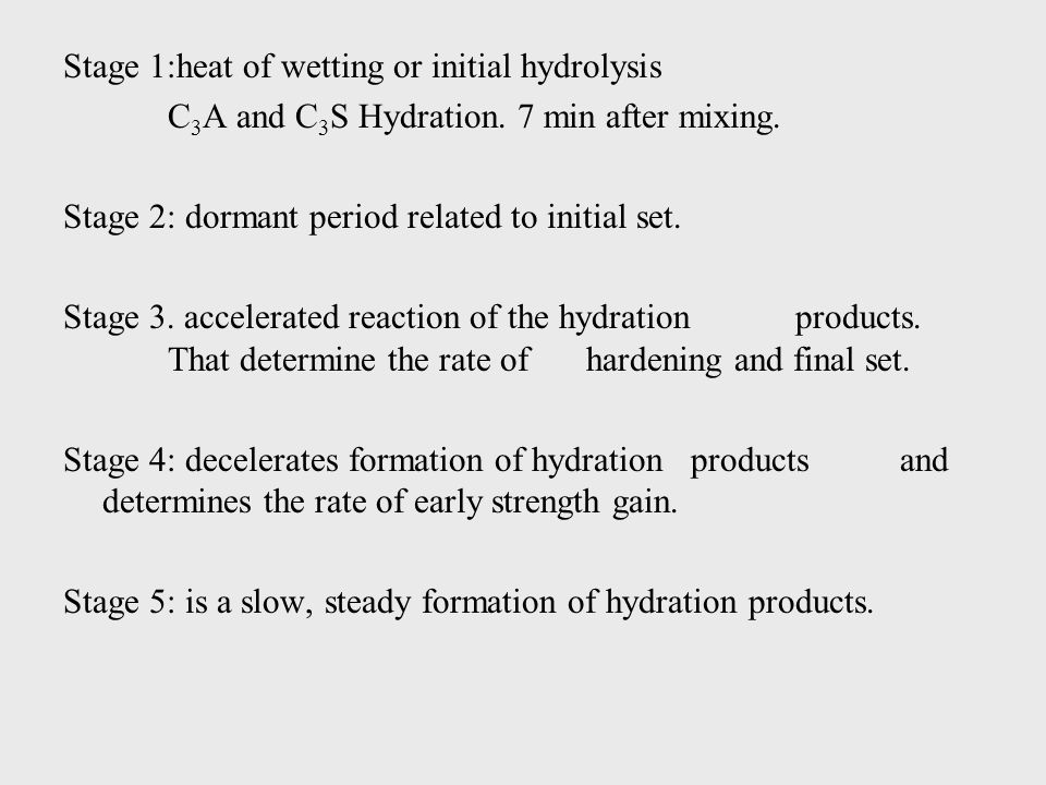 Stage 1:heat of wetting or initial hydrolysis