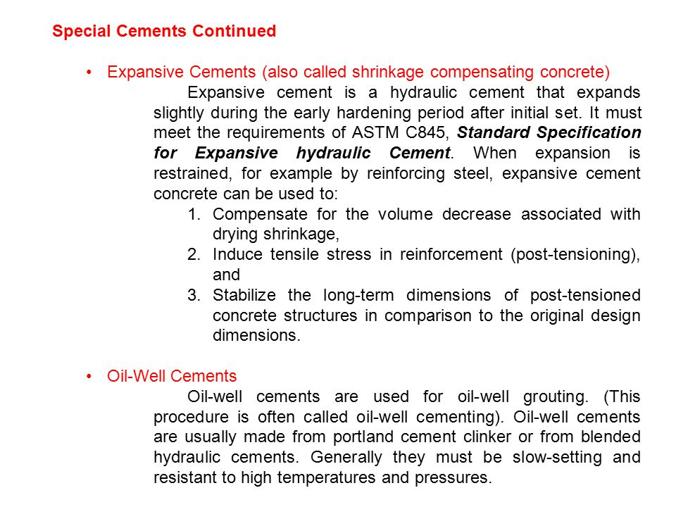 Special Cements Continued