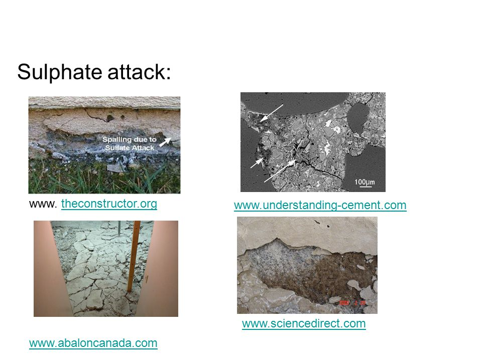 Sulphate attack: www. theconstructor.org www.understanding-cement.com