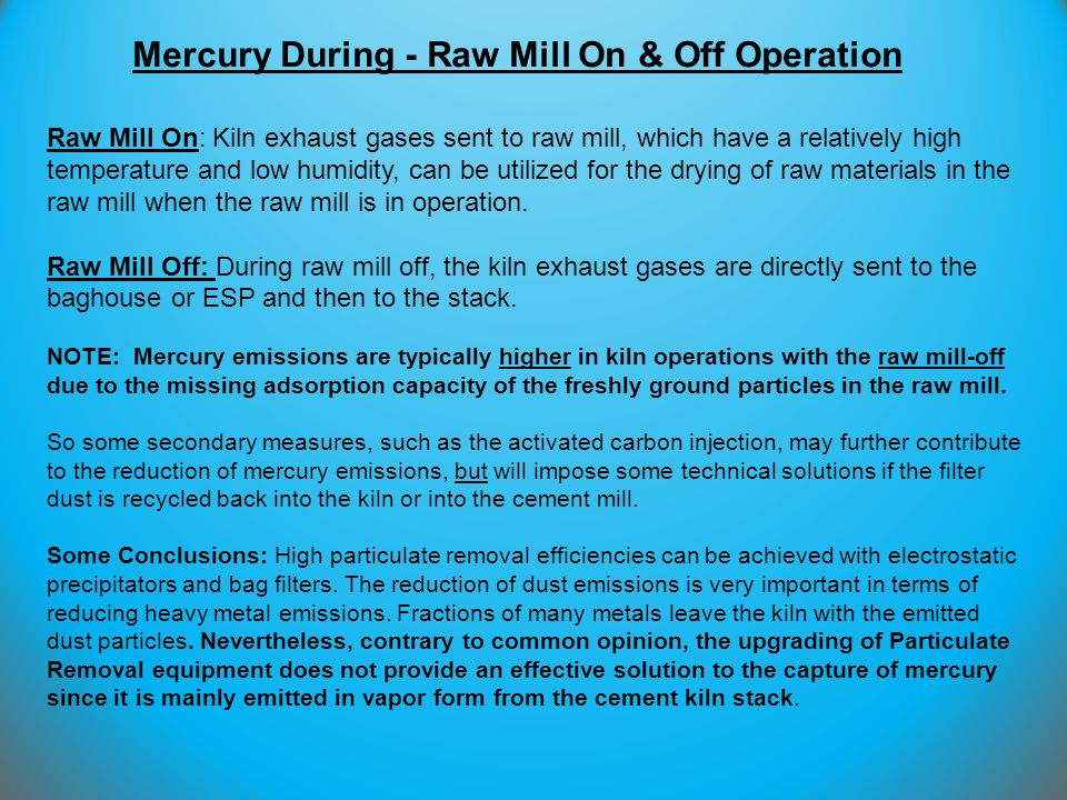 Mercury During - Raw Mill On & Off Operation