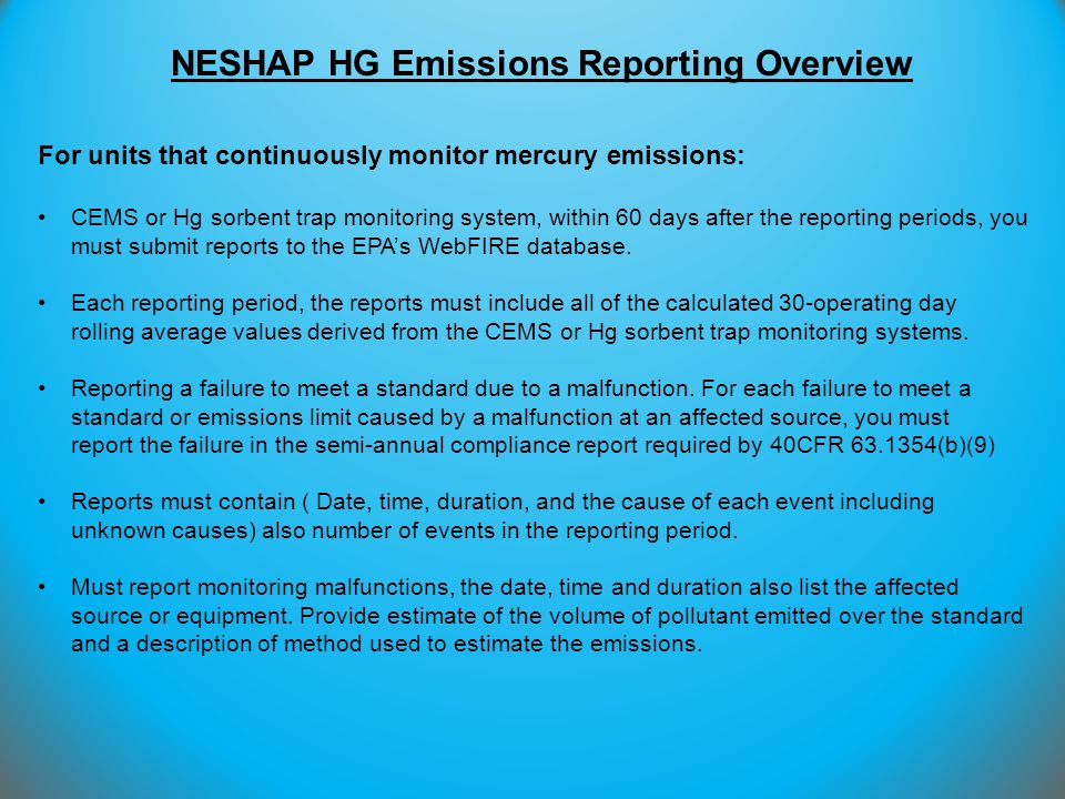 NESHAP HG Emissions Reporting Overview