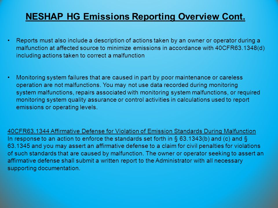 NESHAP HG Emissions Reporting Overview Cont.