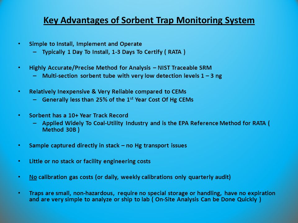 Key Advantages of Sorbent Trap Monitoring System
