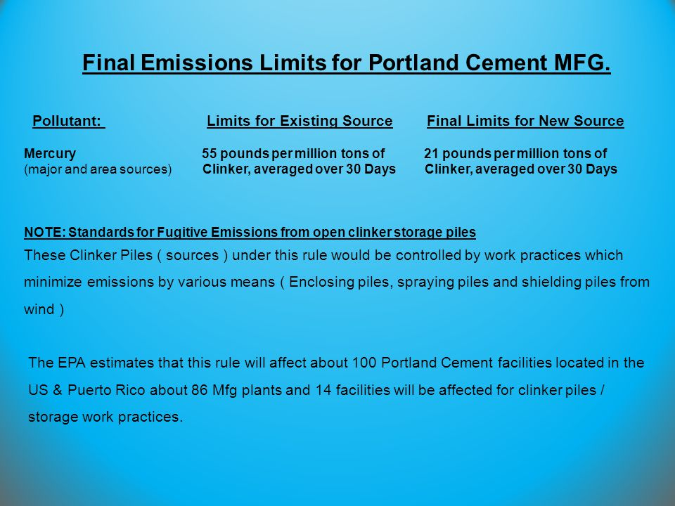 Final Emissions Limits for Portland Cement MFG.