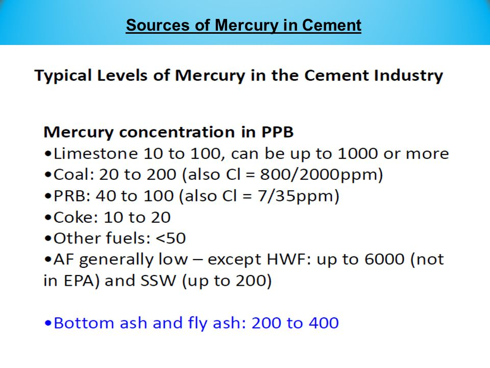 Sources of Mercury in Cement