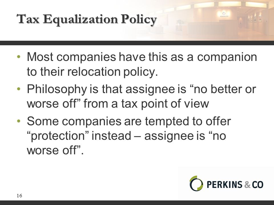 Tax Equalization Policy