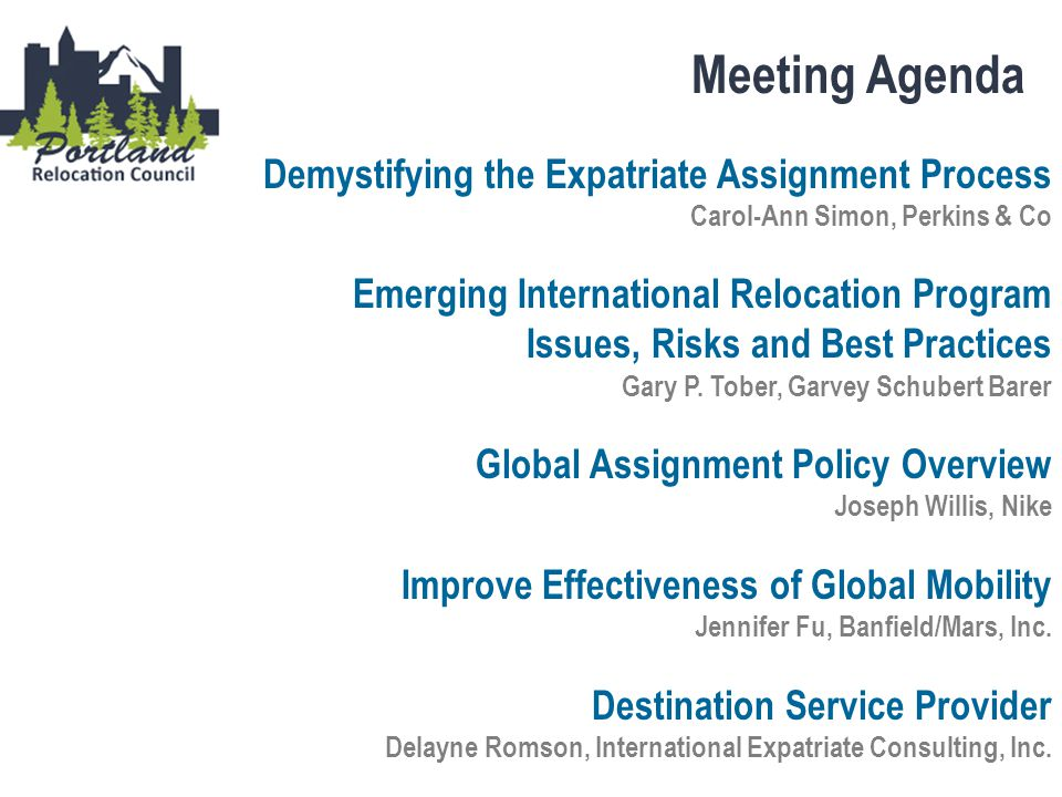 Meeting Agenda Demystifying the Expatriate Assignment Process