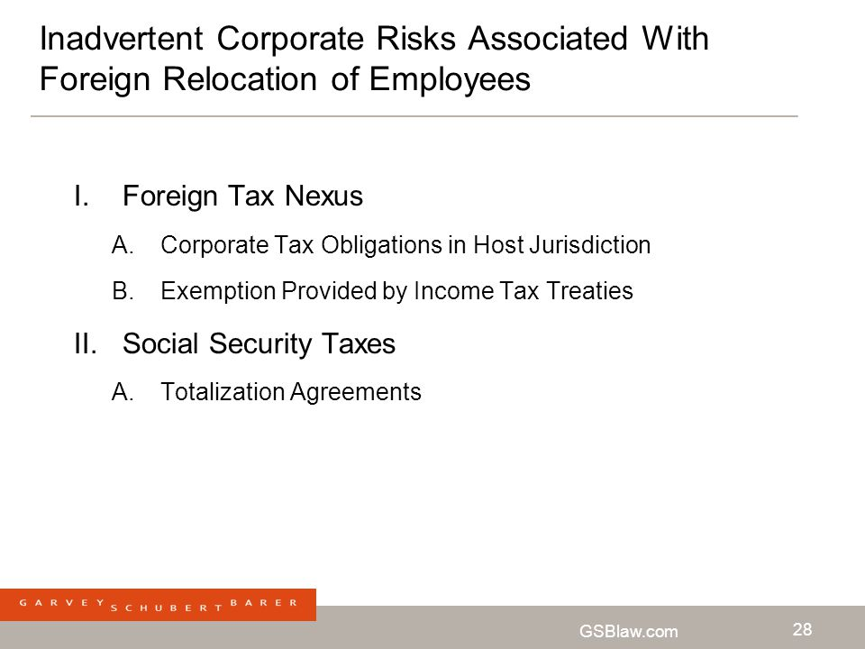 Inadvertent Corporate Risks Associated With Foreign Relocation of Employees