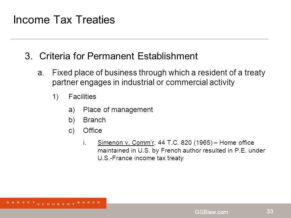 Income Tax Treaties Criteria for Permanent Establishment
