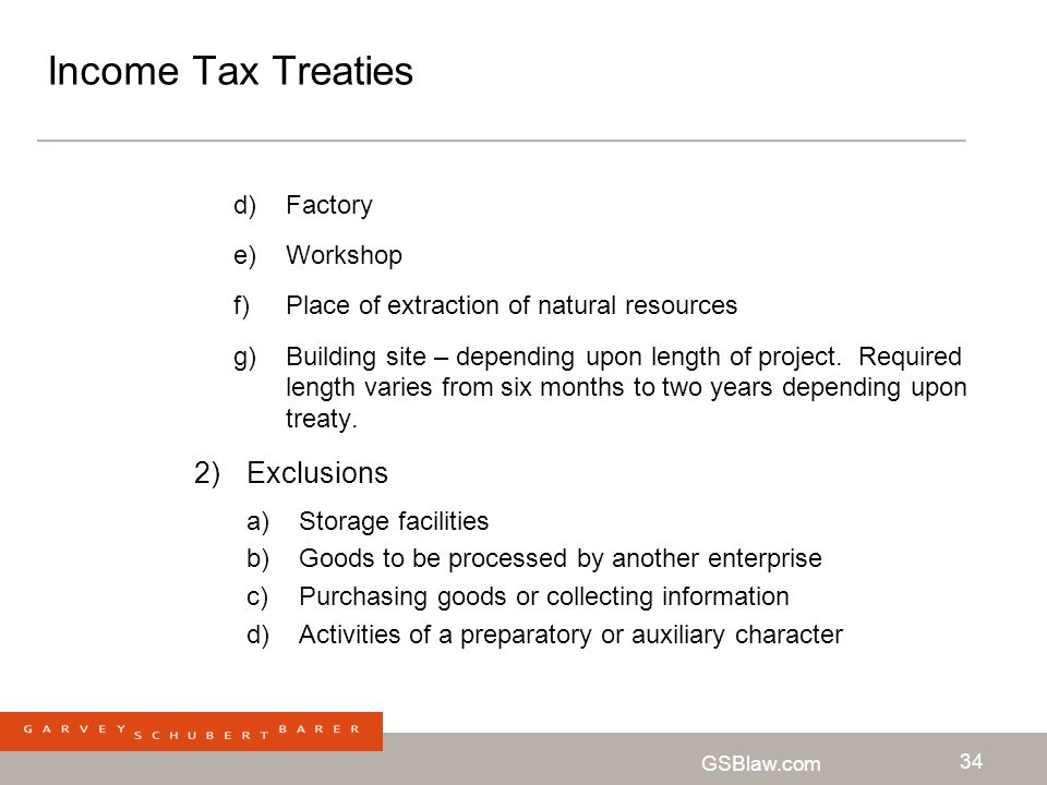 Income Tax Treaties Exclusions Factory Workshop